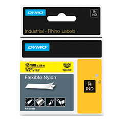 "Rhino Flexible Nylon Industrial Label Tape Cassette, 1/2"" x 11-1/2 ft, Yellow"