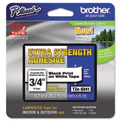 "TZe Extra-Strength Adhesive Laminated Labeling Tape, 0.7"" x 26.2 ft, Black on White"