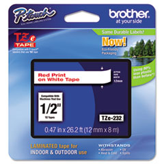 """Brother P-Touch® TZe Standard Adhesive Laminated Labeling Tape, 0.47"""" x 26.2 ft, Red on White"""