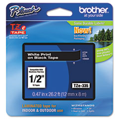 "Brother P-Touch® TZe Standard Adhesive Laminated Labeling Tape, 0.47"" x 26.2 ft, White on Black"