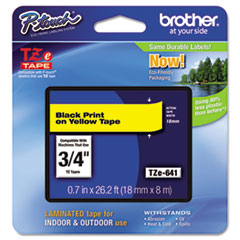"Brother P-Touch® TZe Standard Adhesive Laminated Labeling Tape, 0.7"" x 26.2 ft, Black on Yellow"