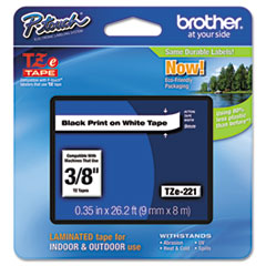 """Brother P-Touch® TZe Standard Adhesive Laminated Labeling Tape, 0.35"""" x 26.2 ft, Black on White"""