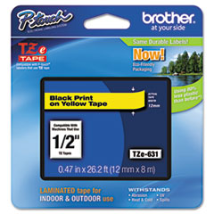 "Brother P-Touch® TZe Standard Adhesive Laminated Labeling Tape, 0.47"" x 26.2 ft, Black on Yellow"