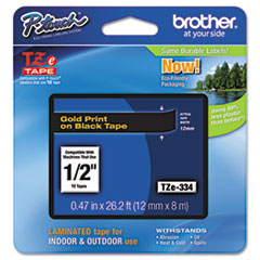 "Brother P-Touch® TZe Standard Adhesive Laminated Labeling Tape, 0.47"" x 26.2 ft, Gold on Black"
