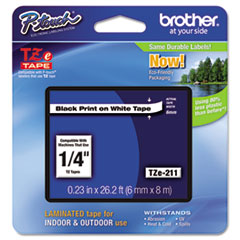 """Brother P-Touch® TZe Standard Adhesive Laminated Labeling Tape, 0.23"""" x 26.2 ft, Black on White"""