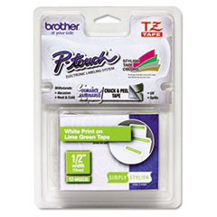 "Brother P-Touch® TZ Standard Adhesive Laminated Labeling Tape, 0.47"" x 16.4 ft, White/Lime Green"