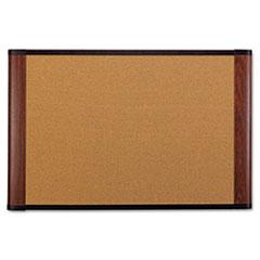 3M™ Cork Bulletin Board, 72 x 48, Aluminum Frame w/Mahogany Wood Grained Finish