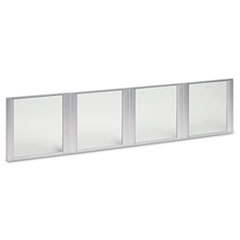 "Alera® Glass Door Set With Silver Frame For 72"" Wide Hutch, Clear, 4 Doors/Set"