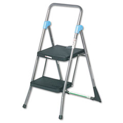 Commercial 2-Step Folding Stool, 300lb Cap, 20 1/2w x 24 3/4d x 39 1/2h, Gray