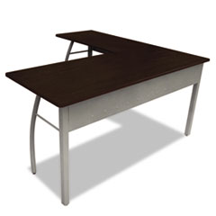 "Trento Line L-Shaped Desk, 59.13"" x 59.13"" x 29.5"", Mocha/Gray"