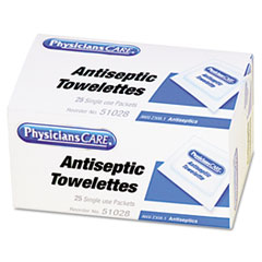 PhysiciansCare® by First Aid Only® First Aid Antiseptic Towelettes, 25/Box