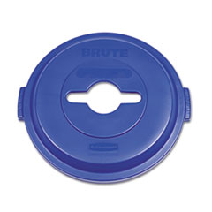Rubbermaid® Commercial Single Stream Recycling Top for BRUTE 32 gal Containers, Blue