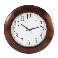 "Universal® Round Wood Wall Clock, 12.75"" Overall Diameter, Cherry Case, 1 AA (sold separately)"