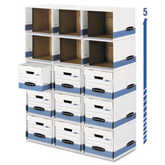 File/Cube Box Shell, Legal/Letter, 12 x 15 x 10, White/Blue