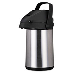 Coffee Pro Direct Brew/Serve Insulated Airpot with Carry Handle, 2200mL, Stainless Steel