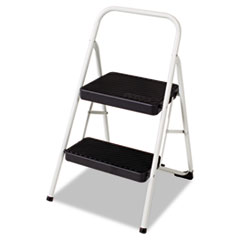 Cosco® 2-Step Folding Steel Step Stool, 200 lb Capacity, 17.38w x 18d x 28.13h, Cool Gray