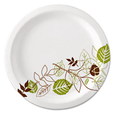 "Dixie® Pathways Soak-Proof Shield Mediumweight Paper Plates, 6 7/8"", Grn/Burg, 500/Ct"