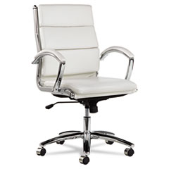 Alera® Alera Neratoli Mid-Back Slim Profile Chair, Supports up to 275 lbs., White Seat/White Back, Chrome Base