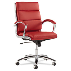 Alera Neratoli Mid-Back Slim Profile Chair, Red Leather, Chrome Frame