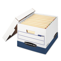 Bankers Box® STOR/FILE END TAB Storage Boxes, Letter/Legal Files, White/Blue, 12/Carton