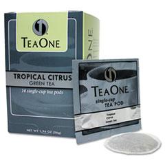 Tea One® Tea Pods, Tropical Citrus Green, 14/Box