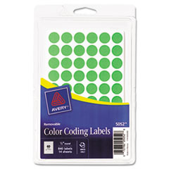 """Avery® Handwrite Only Removable Round Color-Coding Labels, 1/2"""" dia, Neon Green, 840/PK"""