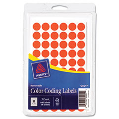 """Avery® Handwrite Only Removable Round Color-Coding Labels, 1/2"""" dia, Neon Red, 840/Pack"""