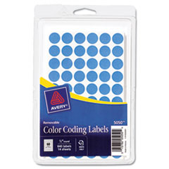 """Avery® Handwrite Only Removable Round Color-Coding Labels, 1/2"""" dia, Light Blue, 840/PK"""