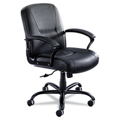 Serenity Series Big & Tall Mid-Back Chair, Black Leather