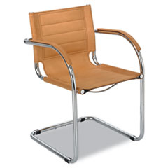 "Safco® Flaunt Series Guest Chair, 21.5"" x 23"" x 31.75"", Camel Seat/Camel Back, Chrome Base"