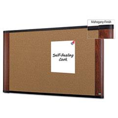 3M™ Cork Bulletin Board, 48 x 36, Aluminum Frame w/Mahogany Wood Grained Finish