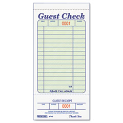 Rediform® Guest Check Book, 3 3/8 x 6 1/2, Tear-Off at Bottom, 50/Book