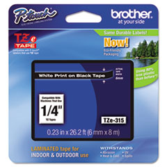 """Brother P-Touch® TZe Standard Adhesive Laminated Labeling Tape, 0.23"""" x 26.2 ft, White on Black"""
