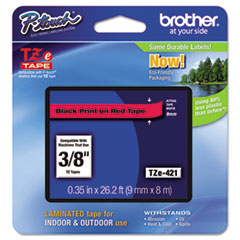 "Brother P-Touch® TZe Standard Adhesive Laminated Labeling Tape, 0.35"" x 26.2 ft, Black on Red"