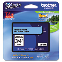 "Brother P-Touch® TZe Standard Adhesive Laminated Labeling Tape, 0.7"" x 26.2 ft, Black on Blue"