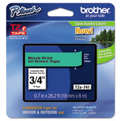 "Brother P-Touch® TZe Standard Adhesive Laminated Labeling Tape, 0.7"" x 26.2 ft, Black on Green"