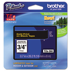 "Brother P-Touch® TZe Standard Adhesive Laminated Labeling Tape, 0.7"" x 26.2 ft, Gold on Black"