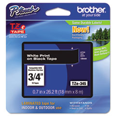"Brother P-Touch® TZe Standard Adhesive Laminated Labeling Tape, 0.7"" x 26.2 ft, White on Black"
