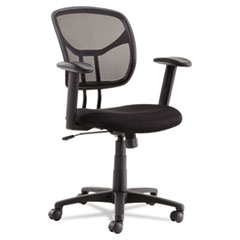 Swivel/Tilt Mesh Task Chair with Adjustable Arms, Supports up to 250 lbs., Black Seat/Black Back, Black Base