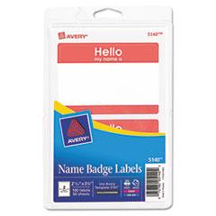 "Printable Self-Adhesive Name Badges, 2-11/32 x 3-3/8, Red ""Hello"", 100/Pack"