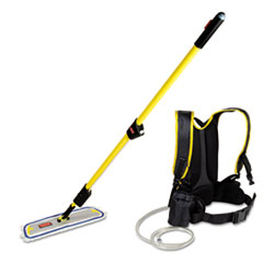 "Rubbermaid® Commercial Flow Finishing System, 18"" Wide Nylon Head, 56"" Yellow Plastic Handle"