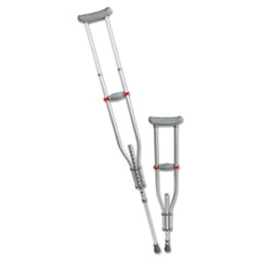 "Quick Fit Push Button Aluminum Crutches, Adjustable, 4 7"" to 6 7"""