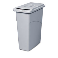 Rubbermaid® Commercial Slim Jim Confidential Document Receptacle with Lid, Rectangle, 23 gal, Light Gray