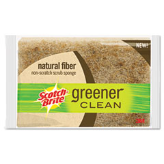 "Scotch-Brite™ Light-Duty Natural Fiber Scrub Sponge, 4 1/2 x 2 7/10, 4/5""Thick, Natural"