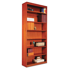 "Alera® Square Corner Wood Bookcase, Seven-Shelf, 35.63""w x 11.81""d x 83.86""h, Medium Cherry"