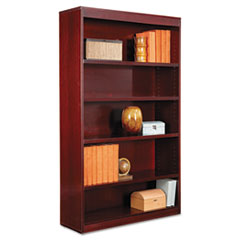 "Alera® Square Corner Wood Veneer Bookcase, Five-Shelf, 35.63""w x 11.81""d x 60""h, Mahogany"