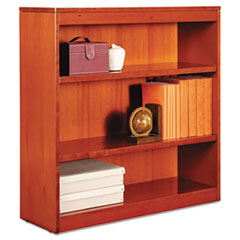 "Alera® Square Corner Wood Bookcase, Three-Shelf, 35.63""w x 11.81""d x 35.91""h, Medium Cherry"