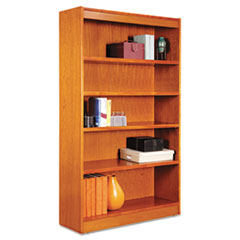 Square Corner Wood Bookcase, Five-Shelf, 35-5/8w x 11-3/4d x 60h, Medium Cherry