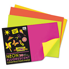 Pacon® Neon Construction Paper, 76 lbs., 12 x 18, Assorted, 20 Sheets/Pack