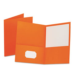 Twin-Pocket Folder, Embossed Leather Grain Paper, Orange, 25/Box